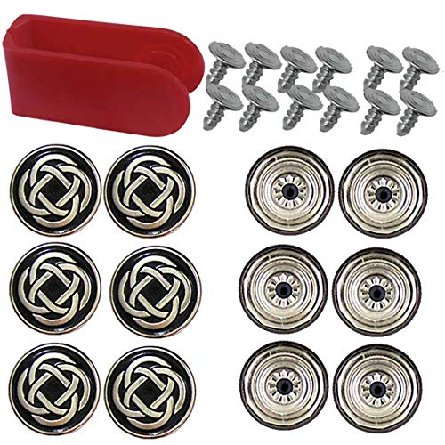20mm No-Sew Celtic Knot Black Silver Jean Tack Buttons w/Tool