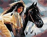 Lienzo de pintura al óleo digital sin marco Pintura de equitación junior por números para adultos acrílico La paciencia y la comprensión de la pintura pueden compartirla tanto adultos como niños