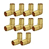 Supply Giant QYMO0012-10 X PEX 90 Degree Elbow Barb Pipe Fitting 1/2'' Brass (pack of 10), 1/2 Inch, 10 Count