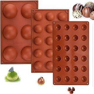 FIGFYOU 3 st semisfärer chokladformar, 6/15/24 hål lätt att släppa silikonform semisfärform halvcirkulär silikonform bakre...