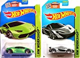 McLaren P1 Silver & Lamborghini Huracán LP Green SET of Hot Wheels 2 cars HW Workshop Garage 2015 #222 & #223 IN PROTECTIVE CASES