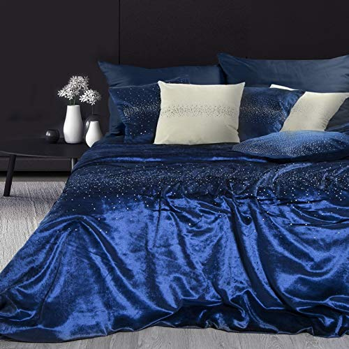 Eurofirany Sprei Velvet Dikke deken blauw fluweel dekbed Glitter kristallen 200x220 cm Throw Luxe Luxe Glamour Glanzend zacht glinsterende slaapkamer woonkamer, kunststof