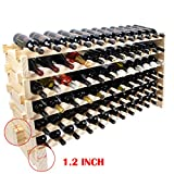 Beyond Your Thoughts Wine Rack Pine Wood 72 Bottle Capacity Stackable Storage Stand Display Shelves, Wobble-Free, Thicker Wood, (72 Bottle Capacity, 6 Rows x 12)