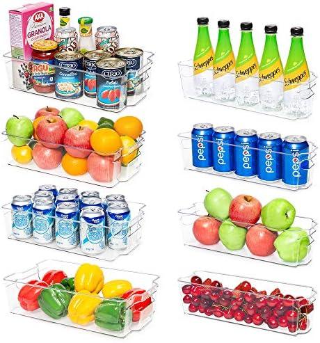 Refrigerator Organizer Bins Vtopmart 4 Large and 4 Narrow Clear Plastic Fridge Organizers for product image
