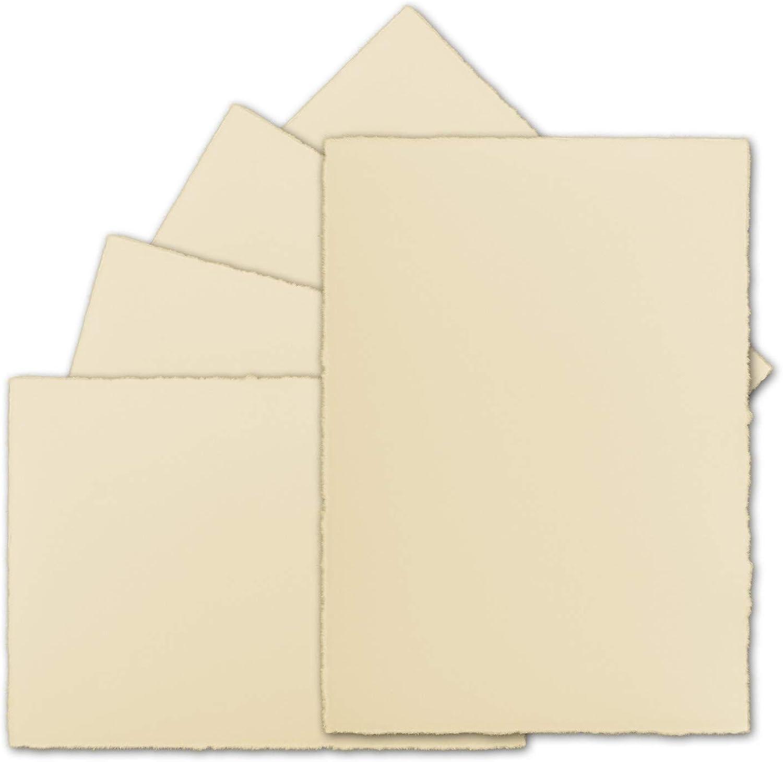 50 Stück DIN A5 Vintage Karten, echtes Bütten-Papier, Bütten-Papier, Bütten-Papier, 148 x 210 mm, Chamois-Elfenbein halbmatt - ohne Falz - Vellum Oberfläche - Original Zerkall-Bütten B07NQJBVBM   Online einkaufen    Mittlere Kosten    Outlet Online  59464f