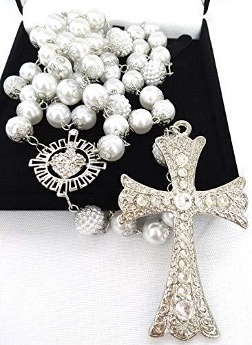 Terço De Noiva Prata Perolas Brancas Sagrado Coração Grande
