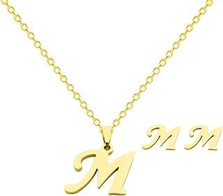طقم أقراط ZINFANDEL من الفولاذ المقاوم للصدأ من ZZZ، مطلي بالذهب 26 حرف الأبجدية أقراط قلادة مجوهرات للنساء الفتيات