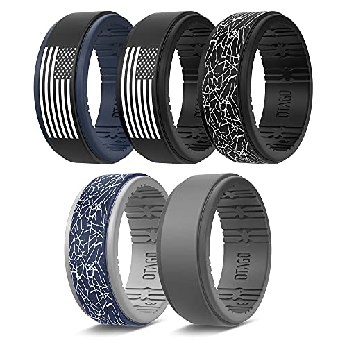 OTAGO Silicone Wedding Rings Mens, 8 / 5 / 2 Multipacks of Comfortable Breathable, Unique Step Edge Sleek Design Rubber Silicone Ring Men with 9 mm Wide and 2.3 mm Thick