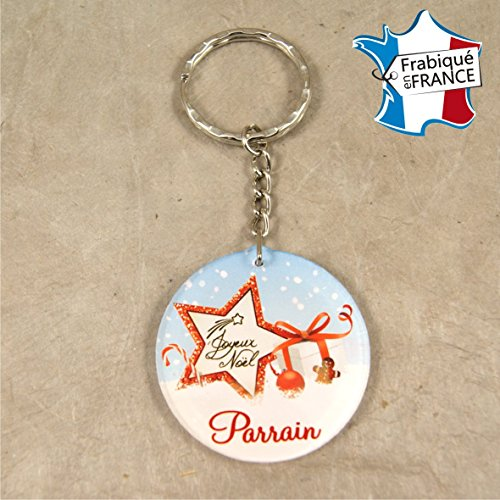 Porte Clef – Joyeux Noël Parrain (Cadeau de Noël pour Parrain - décoration de Sapin)