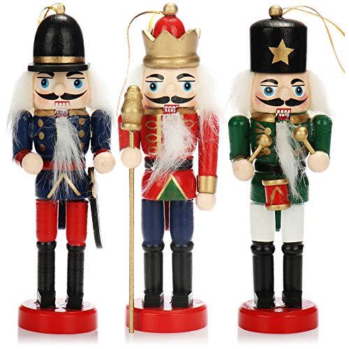 com-four® 3X Ciondolo schiaccianoci, Ciondolo Albero di Natale a Forma di schiaccianoci Tradizionale, Diversi Modelli, Altezza 12 cm (Blu/Rosso/Verde)