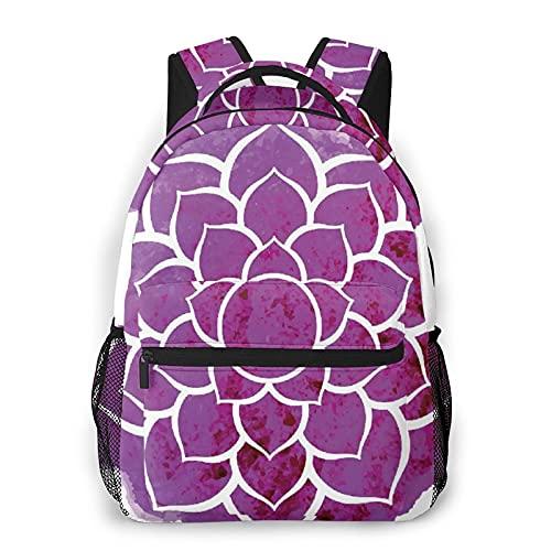 Mochila de viaje,Mandala púrpura Acuarela Flor de loto Yoga Meditación Estilo bohemio Painbrush Obra de arte,Resistente al agua para negocios Mochila para computadora antirrobo Delgada Duradera