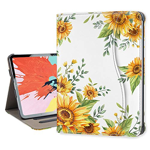 Hi Space iPad Pro 11 Case Sunflower Floral 2020 & 2018 with Pencil Holder/Pocket, Multi-Angle Viewing Flower Leather Case, [Support Apple Pencil Charging] Protective Shockproof Cover Auto Sleep Wake