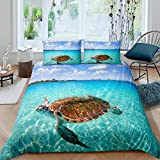 Sea Turtle Bedding Set Marine Life Printed Duvet Cover Teal Sea Hawaiian Turtle Pattern Comforter Cover, Boys Teens Girls Tortoise Bedspreads Ocean Beach Theme Bedspread with Zipper Ties, Queen Size