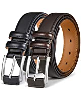 Men's Belt 2 Units,Bulliant Genuine Leather Belt For Men Dress Casual 1 3/8