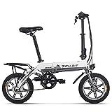 RICH BIT Bicicleta eléctrica RT-618, batería de Iones de Litio de 250 W 36 V * 10,2 Ah, Bicicleta de Ciudad Plegable de 14 Pulgadas para Adultos (Blanco)