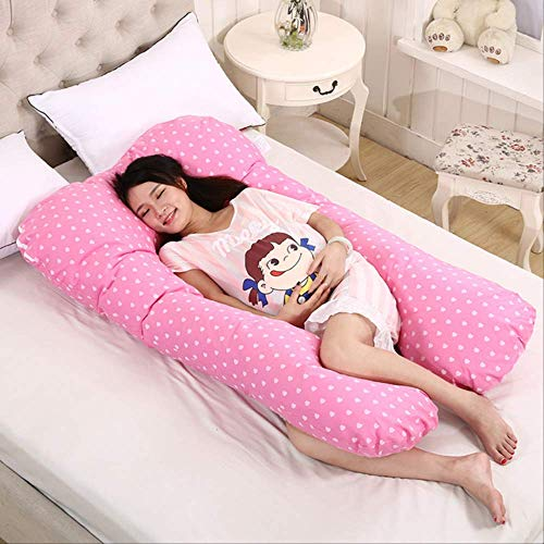 AINIYUE Sleep Support Cushion, Print U-shape Maternity Pillow, Pregnant Women Body Cotton Pillow, Gift For Family And Friends 70x130cm pink