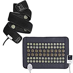 """UTK Far Infrared Jade & Tourmaline Heating Pad and Flexible Heating Wrap, Small Pro (23.5""""X16"""") and Long Heating Wrap, Smart Cord and Auto Off"""