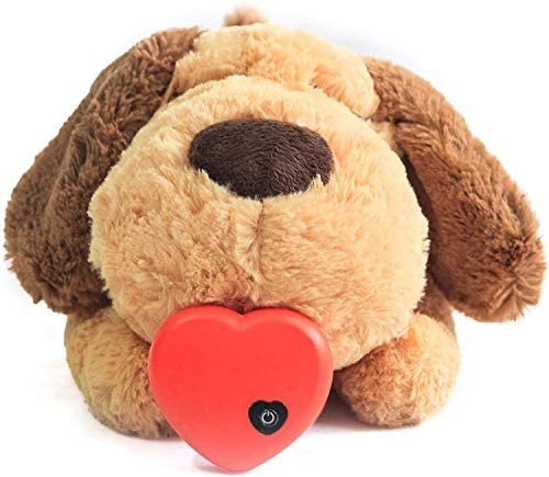 E-More Puppy Toy with Heartbeat, Puppies Separation Anxiety Dog Toy Soft Plush Sleeping Buddy Behavioral Aid Toy Puppy Heart Beat Toy for Puppies Dog Pet