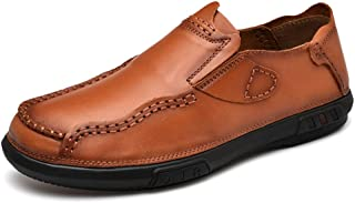 Dongxiong Simple, classic style OX leather tickles of the flexibility of the side buttonhole sewing drive loafers man boat moccasins slip (Color : Brown, Size : 45 EU)