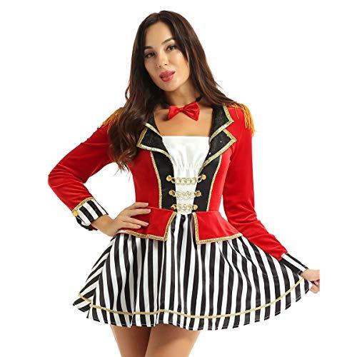 FEESHOW Frauen Zirkus Kostüm Damenkostüm Zirkus Direktor Jacke Langarm Kleid mit gestreiften Rock...