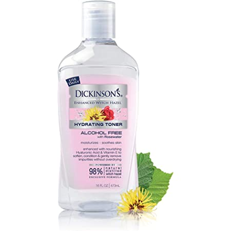 Dickinson's Enhanced Witch Hazel Hydrating Toner with Rosewater, Alcohol Free, 98% Natural Formula, 16 Fl Oz