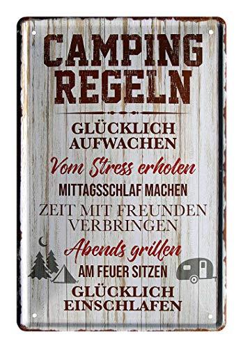 Blechschild Camping Regeln - Retro Deko Schild - Dekoration für Caravan Wohnmobil Wohnwagen Reisemobil Outdoor Zelten Camping Begeisterte - Metallschild Campingplatz Grillen - Geschenk Idee - 20x30cm