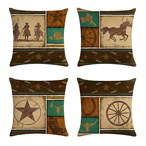 geinne 4pack Cowboy Style Throw Pillow Case Vintage Western Cowboys Riding Horses Theme Decorative Square Cotton Linen Cushion Cover for 18 X 18 Inch Pillow Inserts (Cowboy-1)