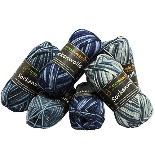 trendmarkt24 Wolle-Set-Mix Blautöne 4fädig Woll-Paket insg. 300g 75% Schurwolle 25% Polyamid Oeko-TEX Standard100 Ökotex Socken-Wolle 4fach Stumpfwolle Strickwolle Mix Sparpaket 602018