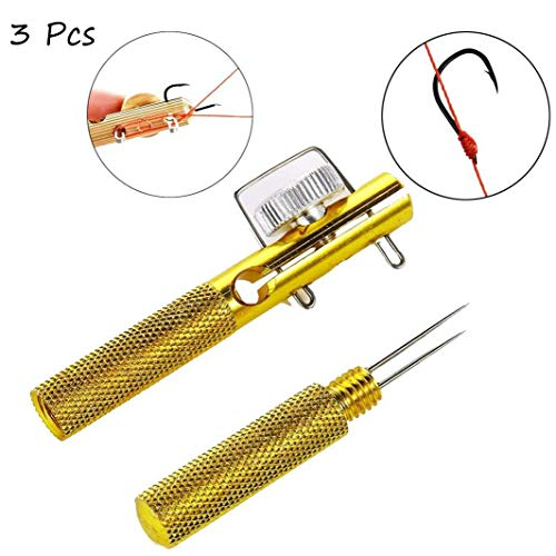 YAMEE 3Pcs Fast Fishing Knot Tying Tool Tackle Fish Hook Knotting Tool Portable Fast Fishing Accessories (Gold)