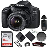 Canon EOS 2000D Digital SLR Camera with 18-55mm Lens Kit (Black) + 16GB Basic Accessories Bundle (International Version)