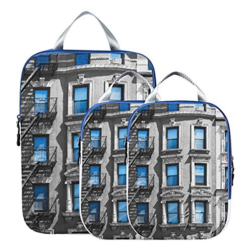 Set di cubi per imballaggio da viaggio Arte della moda colorata Organizzatore di bagagli da viaggio per città americana Cubi da imballaggio espandibili per viaggio per bagaglio a mano, viaggio (set d
