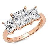 Clara Pucci 3.2 Ct Three Stone Princess Cut Solitaire Bridal Anniversary Engagement Wedding Ring Band 14K Rose Gold, Size 6.5