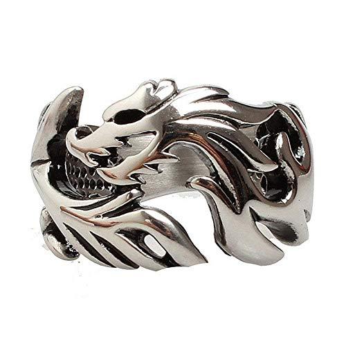 JIANLISP Hombres Anillo de Acero Titanium de Plata gótica del Tono Winding Chino del dragón Anillos Tribales para los Hombres