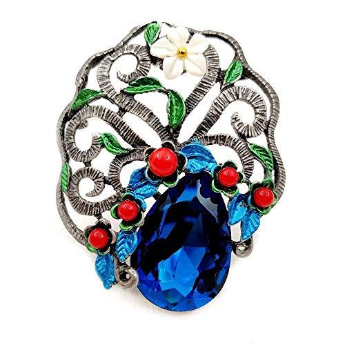kliy Alfileres Y Broches Baratosestilo Art Déco Azul Lágrima Piedra Bonsai Broches Plata Ton Pergamino Curado Vid Rojo Floral Vintage Tree Pins