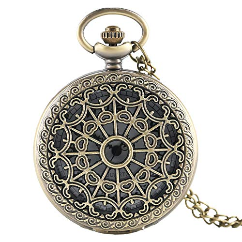 KUELXV sportinggoodsBronce Antiguo Vintage Telaraña Hueco Colgante Collar Reloj de Bolsillo de Cuarzo Hombres Mujeres Collar de suéter único Reloj Steampunk, Bronce