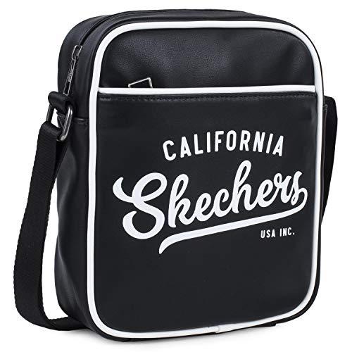 SKECHERS - Kleine Tasche mit verstellbarem Schulterriemen. Jahrgang. Nylon. Ursprüngliches Geschenk. Unisex. Exklusives und einzigartiges Design S918, Color Schwarz