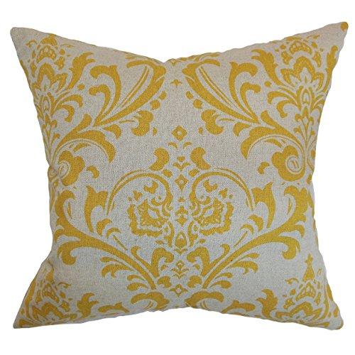 The Pillow Collection Olavarria Damask Throw Funda de Almohada, Multi, 18 x 18