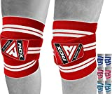 RDX Ginocchio Bandage Powerlifting Ginocchiere Support Tutore, Pesistica Cinghie Fascia Gy...