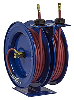 "Coxreels C-LP-125-125 Dual Purpose Spring Rewind Hose Reel for air/water: 1/4"" I.D., 25' hose each, 300 PSI"