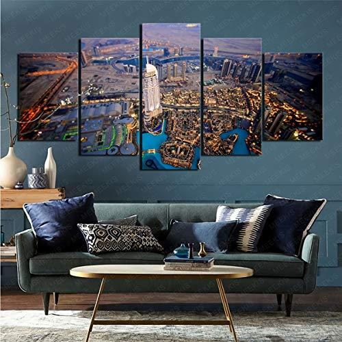 mmkow Cuadro para Imprimir 5 Piezas de Artista de Dormitorio de Sala de Estar de Dubai Hechas por el Hombre Pintor Aficionado 50x100cm (Marco)