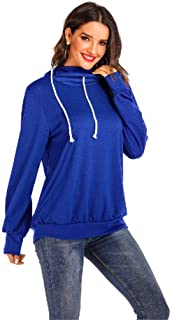 Buckerjun Autumn and Winter New Hooded Sweater Women's Solid Color Drawstring Long-Sleeved Shirt