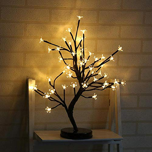 ZYLX Decorations for Living Room LED Cherry Blossom Bonsai Tree lamp Plum Blossom Bonsai Tree lamp Table lamp Tree Tree Lights-Yellow