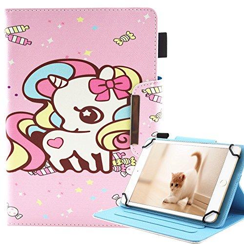 A-BEAUTY - Funda Universal para Tablet Samsung Galaxy Tab 3 7.0/Tab 4 7.0/Tab A 7.0/Amazon Kindle Fire 7/Huawei Mediapad T3 7.0 y más de 7' Candy Unicorn