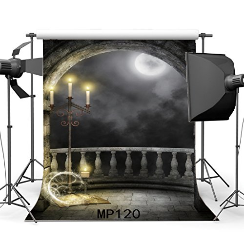 Hasdrop 5X7FT Gothic Backdrop Magic Book Shining Moon Night Vinyl Backdrops Candlestick Grunge Brick Wall Arch Door Enchanted Photography Background Kids Adults Masquerade Photo Studio Props MP120