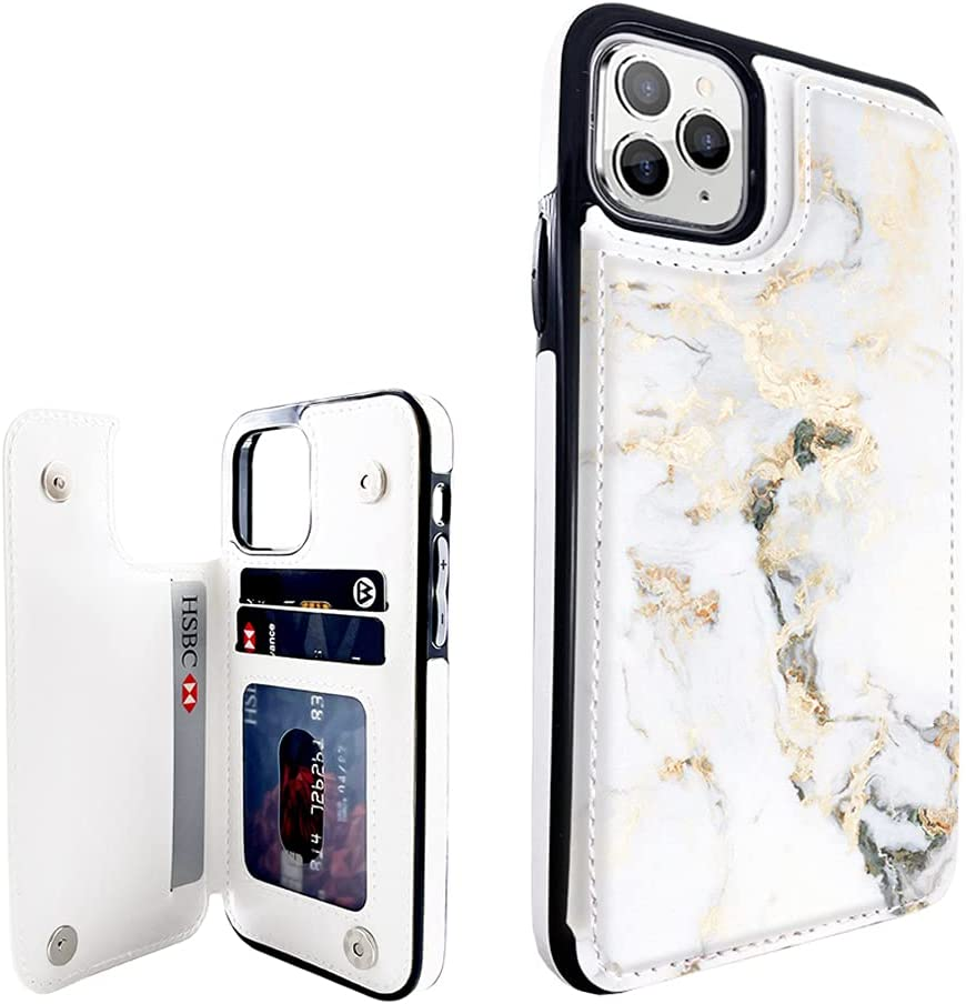 Obbii Marble Leather Wallet Flip Case Compatible with iPhone 11 Pro Max 6.5