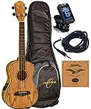 Oscar Schmidt OU7TE Spalted Mango Tenor Acoustic/Electric Ukulele Aquila String, True Tune Tuner Package