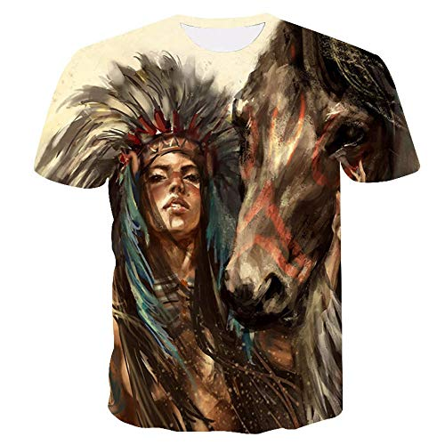 Unisex T-shirt 3D print zomer casual grafische korte mouwen Indiase etnische meisjespaard T-shirts