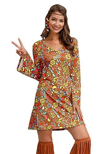 Damens Hippie Kleider Kostüm 60er 70er Kostüm Retro Halloween Kleider Brown XL