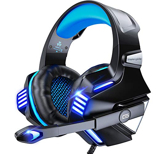 VersionTECH. Gaming Headset for PS5/ PS4/ Xbox One/PC, Noise Canceling Over-Ear Headphones with Mic, LED Lights & Volume Console for Xbox 1 S/X, Playstation 5/4/Slim/Pro, Switch, Computer -Blue