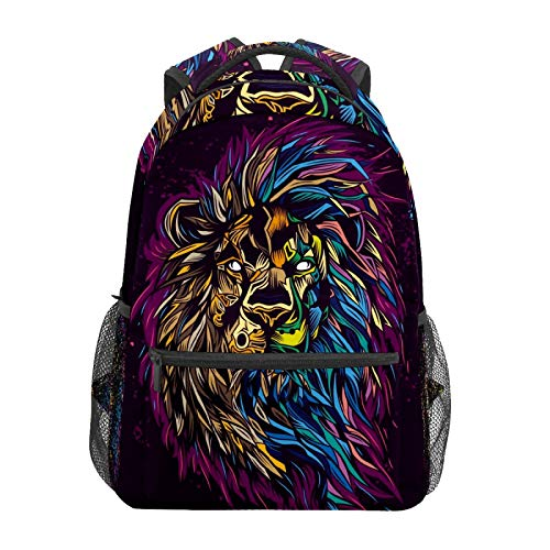 School Backpack Lion King Long Hair Casual Travel Laptop Daypack Canvas Book Bags for Woman Girls Boys Student Adult Men
